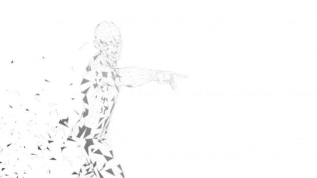 Hombre abstracto conceptual que toca o que señala a algo.