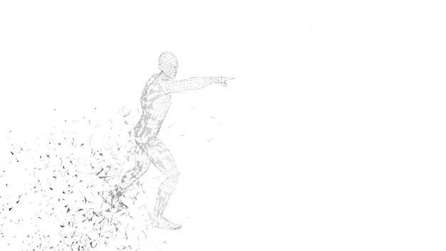 Hombre abstracto conceptual tocando o apuntando a algo