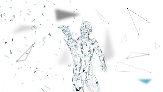 Hombre abstracto conceptual tocando o señalando algo