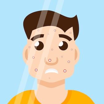 Hombre acne en espejo