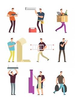 Hombre en actividades domésticas. reparación en apartamento varias situaciones vector conjunto de personajes de dibujos animados