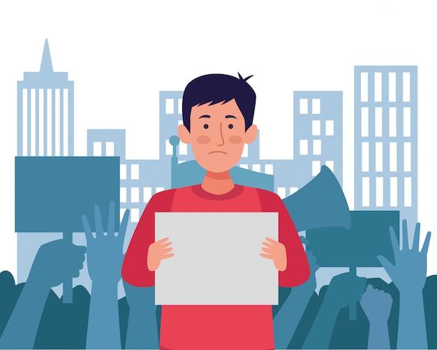 Hombre activista protestando con banner avatar personaje