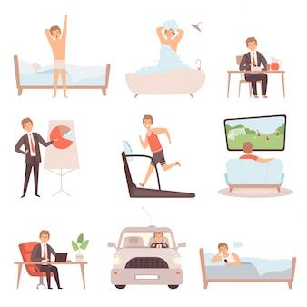 Hombre activo rutina diaria. los empresarios de estilo de vida cotidianos trabajan personas ocupadas vector carácter aislado