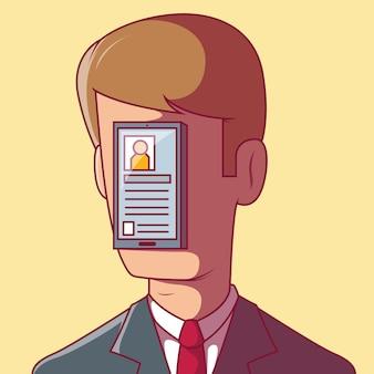 Hombre adicto a la ilustración de las redes sociales. app, tecnhology, concepto de diseño