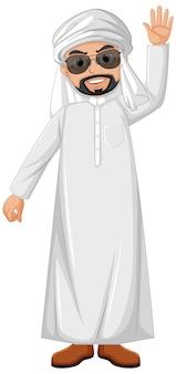 Hombre adulto árabe con personaje de traje árabe