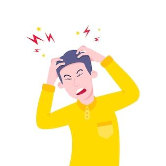 Hombre adulto joven que sufre de dolor de cabeza por estrés y sosteniendo su cabeza con las manos