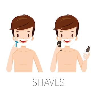 Hombre afeitado barba con maquinilla de afeitar y afeitadora