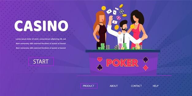 Hombre afortunado gana dinero mujer feliz cerca de la mesa del casino