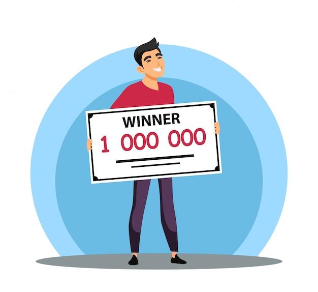 Hombre afortunado sonriente sosteniendo un millón de cheques bancarios, ganó un premio en dinero