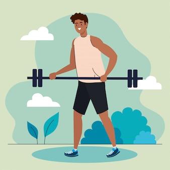 Hombre afro con barra de peso al aire libre, ejercicio deportivo recreación