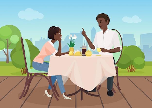 Hombre afroamericano y mujer cena en un restaurante. los amantes de la pareja de dibujos animados ilustración vectorial.