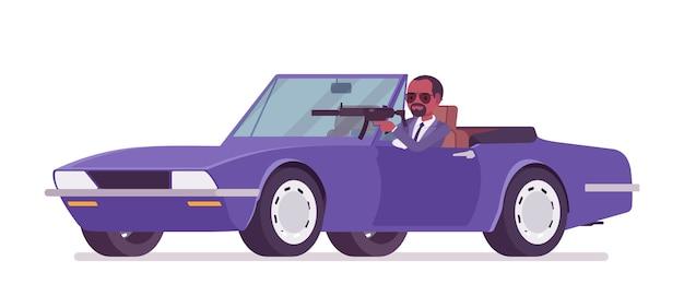 Hombre agente secreto conduciendo un coche deportivo