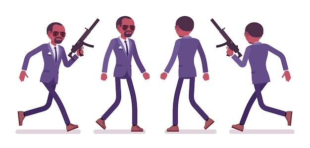 Hombre agente secreto en diferentes poses