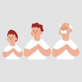 Hombre agradecido o soñado con la mano en el pecho y los ojos cerrados. conjunto de personajes de dibujos animados de vector aislado.