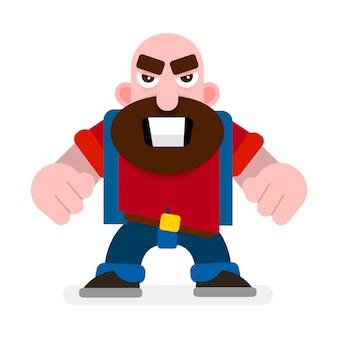 Hombre agresivo con puños listo para luchar ilustración vectorial sobre fondo blanco.