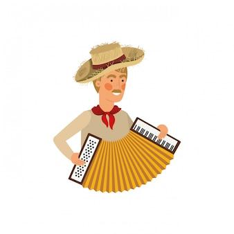 Hombre agricultor con instrumento musical.