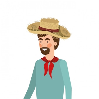 Hombre agricultor con sombrero de paja