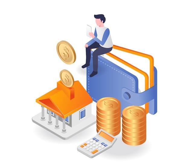 El hombre ahorra dinero de la inversión empresarial en el banco