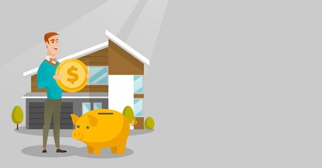 Hombre ahorrando dinero en la hucha para comprar casa.