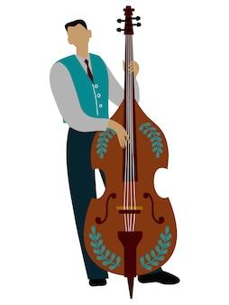 Hombre aislado jugando personaje de dibujos animados de violonchelo, vector doodle plana