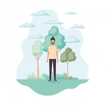 Hombre aislado en el parque