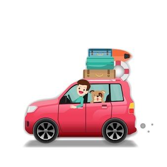 Hombre en el aislante del concepto del viaje en coche en el fondo blanco.