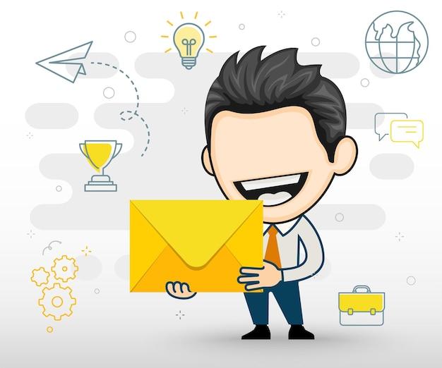 Hombre alegre tiene una carta importante feliz empresario sosteniendo un sobre