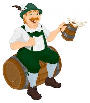 Hombre alemán se sienta en un barril de roble y sosteniendo la jarra de cerveza de madera.