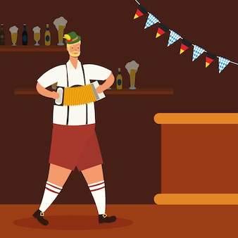 Hombre alemán vestido con traje tirolés tocando el acordeón, diseño de ilustraciones vectoriales