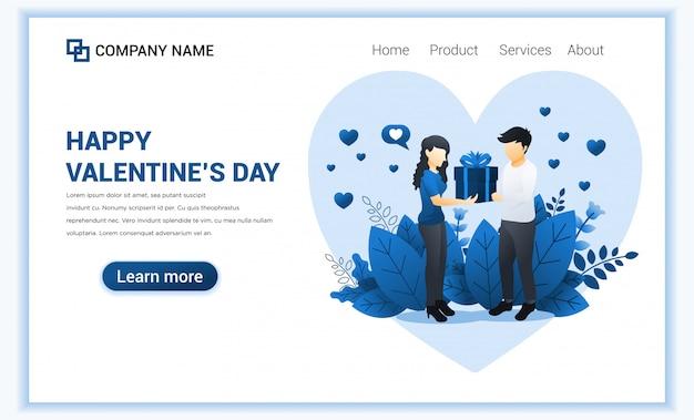 Hombre amoroso regalar a la mujer. pareja celebra el día de san valentín.