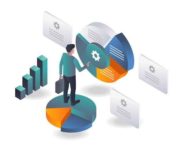 El hombre está analizando gráficos circulares para negocios de inversión