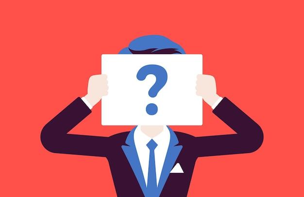 Hombre anónimo con signo de interrogación. persona del sexo masculino no identificado por su nombre, usuario desconocido, perfil de incógnito, secreto comercial, oscuridad, pareja de cita a ciegas. ilustración vectorial, personaje sin rostro