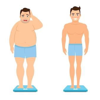 Hombre antes y después de la pérdida de peso.