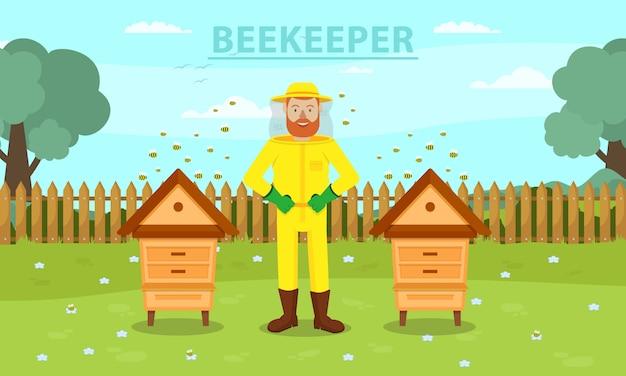 Hombre apicultor en traje protector amarillo entre dos colmenas.