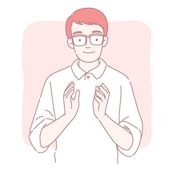 Hombre aplaudiendo en estilo de línea fina
