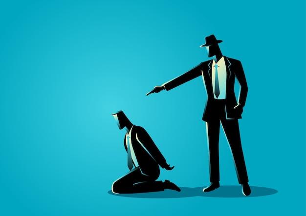 Hombre apuntando con un arma a la cabeza del hombre arrodillado