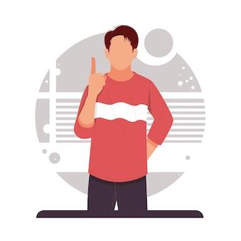 Hombre apuntando con el dedo hacia arriba anunciar producto en diseño plano