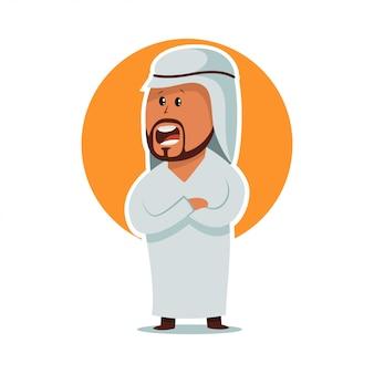 Hombre árabe de pie. personaje de dibujos animados masculino en ropas tradicionales aisladas sobre fondo blanco.