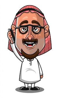 Hombre árabe usando un vector de dibujos animados de teléfono inteligente
