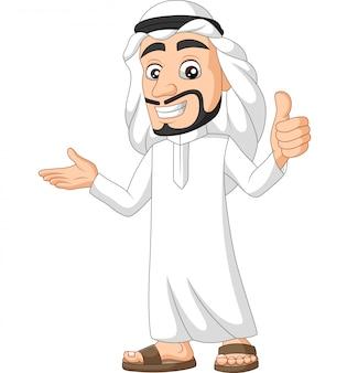 Hombre de arabia saudita de dibujos animados dando un pulgar hacia arriba