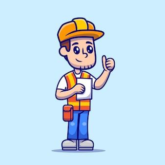 Hombre arquitecto construcción sosteniendo papel sketch cartoon vector ilustración.