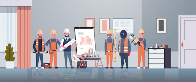 Hombre arquitecto ingeniero mostrando dibujo plano del edificio en el caballete a los trabajadores de la construcción