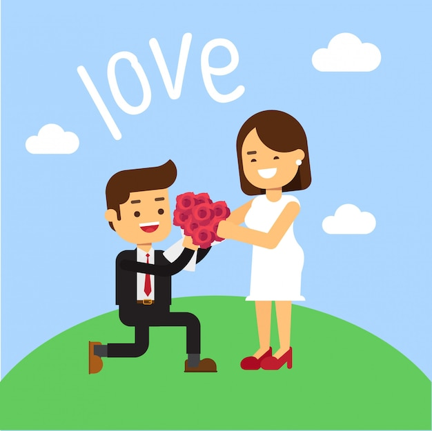 Hombre arrodillado y da flor a mujer bonita.
