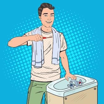 Hombre de arte pop cepillarse los dientes en el baño.