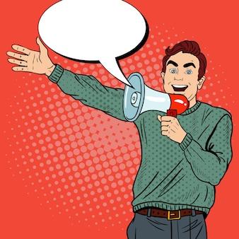 Hombre de arte pop con megáfono promoviendo gran venta.