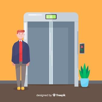 Hombre en ascensor