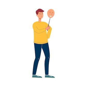 Hombre asiático de dibujos animados con máscara feliz sobre cara triste - adolescente que oculta la emoción y la ira y finge estar bien. ilustración.