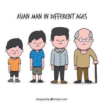 Hombre asiático en diferentes edades