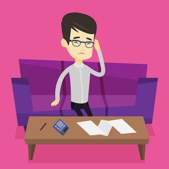 Hombre asiático infeliz que contabiliza las cuentas caseras.