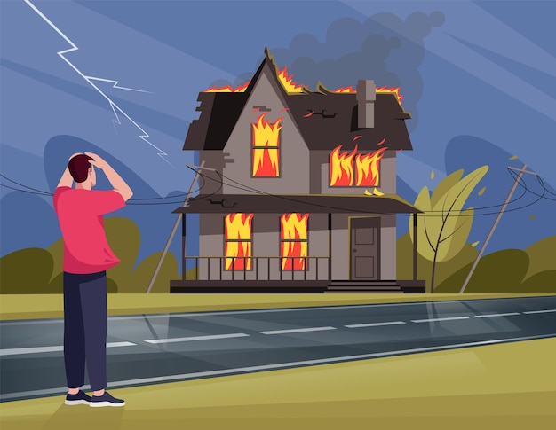 Hombre aterrorizado por el fuego en la casa residencial semi ilustración